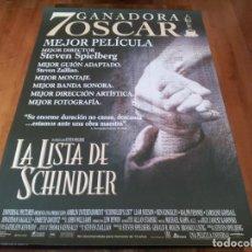 Cine: LA LISTA DE SCHINDLER - LIAM NEESON, BEN KINGSLEY, RALPH FIENNES - POSTER ORIGINAL U.I.P 1993. Lote 237553810
