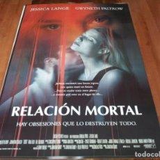 Cine: RELACIÓN MORTAL - JESSICA LANGE, GWYNETH PALTROW, JOHNATHON SCHAECH - POSTER ORIGINAL COLUMBIA 1998. Lote 237565710