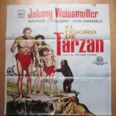 Cine: CARTEL CINE, EL TESORO DE TARZAN, JOHNNY WEISSMULLER, MAUREEN O´SULLIVAN, 1966, C895. Lote 237638125