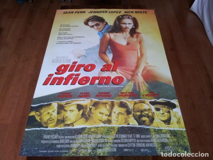 GIRO AL INFIERNO - SEAN PENN, JENNIFER LOPEZ,NICK NOLTE,OLIVER STONE - POSTER ORIGINAL COLUMBIA 1997 (Cine - Posters y Carteles - Suspense)