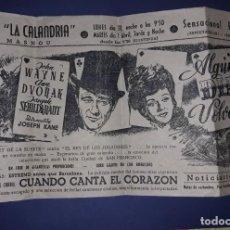 Cine: FOLLETO GRAN FORMATO TIPO CARTEL ALGUN DIA VOLVERÉ JOHN WAYNE 1945 MEDIDAS 15.70 CM X 29 CM. Lote 238470730