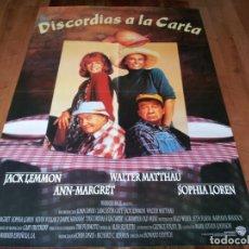 Cine: DISCORDIAS A LA CARTA - JACK LEMMON, WALTER MATTHAU, SOPHIA LOREN - POSTER ORIGINAL WARNER 1995. Lote 238499190