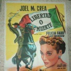 Cine: CARTEL CINE ORIGINAL ESPAÑOL LIBERTAD O MUERTE, BYRON HASKIN, JOEL MCCREA, JEFF MORROW. Lote 239506515