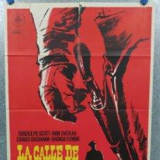 Cine: LA CALLE DE LOS CONFLICTOS. RANDOLPH SCOTT, ANN DVORAK, RHONDA FLEMING. AÑO 1963. POSTER ORIGINAL. Lote 239676650