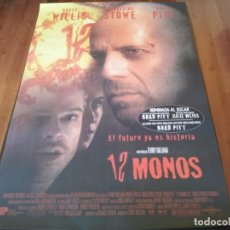Cine: 12 MONOS - BRAD PITT, BRUCE WILLIS, MADELINE STOWE - DIR. TERRY GILLIAM - POSTER ORIGINAL U.I.P 1995. Lote 271442553