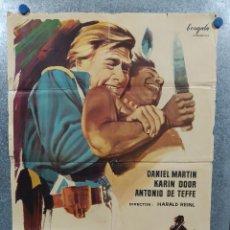 Cine: EL ÚLTIMO MOHICANO. JOACHIM FUCHSBERGER, KARIN DOR AÑO 1965. POSTER ORIGINAL. Lote 241771660