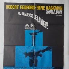 Cinema: ANTIGUO CARTEL CINE EL DESCENSO DE LA MUERTE ROBERT REDFORD GENE HACKMA 1969 R266 RV. Lote 242256940