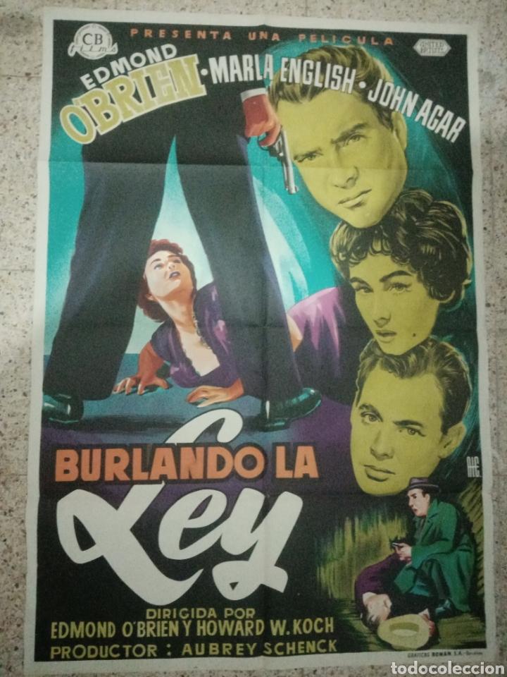 CARTEL ORIGINAL ESPAÑOL BURLANDO LA LEY, EDMUND O'BRIEN, MARLA ENGLISH, JOHN AGAR (Cine - Posters y Carteles - Suspense)