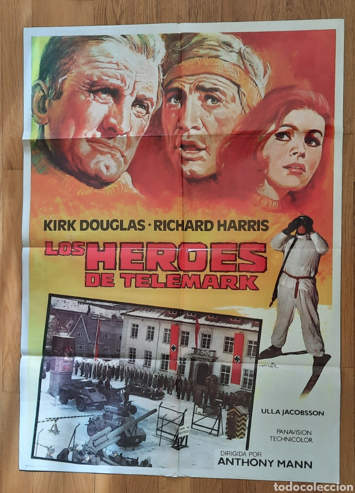 LOS HEROES DE TELEMARK / KIRK DOUGLAS / RICHARD HARRIS / ILUSTRA MATAIX 100X70 (Cine - Posters y Carteles - Bélicas)