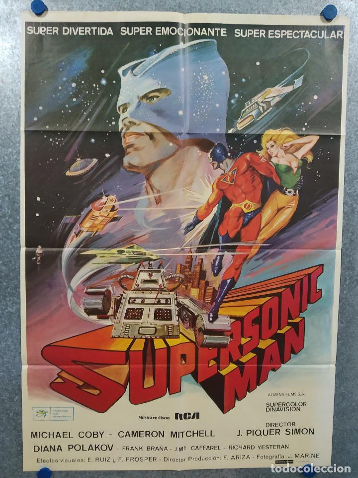 SUPERSONIC MAN. ANTONIO CANTAFORA, CAMERON MITCHELL, JOSÉ LUIS AYESTARÁN. AÑO 1979. POSTER ORIGINAL (Cine - Posters y Carteles - Ciencia Ficción)