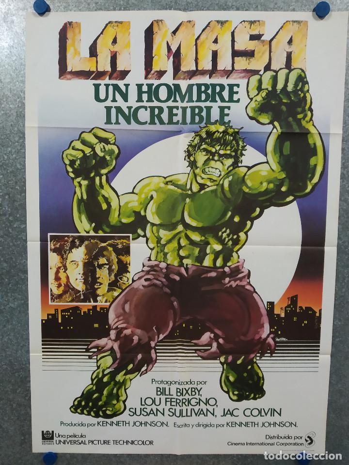 LA MASA, UN HOMBRE INCREIBLE. EL INCREIBLE HULK. BILL BIXBY, LOU FERRIGNO AÑO 1980. POSTER ORIGINAL (Cine - Posters y Carteles - Ciencia Ficción)
