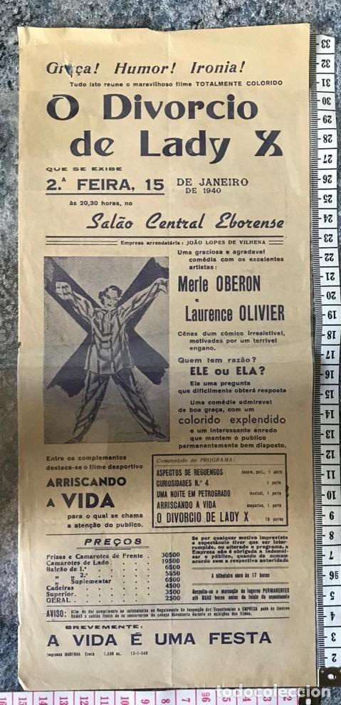 ST 76 CINE O DIVORCIO DE LADY X MERLE OBERON LAURENCE OLIVIER EVORA 1500 13/1/1940 PORTUGAL (Cine - Posters y Carteles - Comedia)