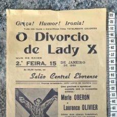 Cine: ST 76 CINE O DIVORCIO DE LADY X MERLE OBERON LAURENCE OLIVIER EVORA 1500 13/1/1940 PORTUGAL. Lote 243592860