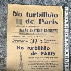Cine: ST 78 CINE NO TURBILHAO DE PARIS JACK BENNY JOAN BENNETT EVORA 1500 29/12/1939 PORTUGAL. Lote 243593810