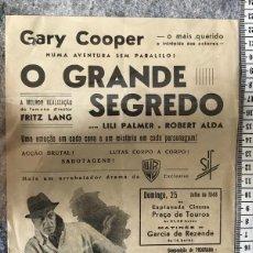 Cine: ST 81 CINE O GRANDE SEGREDO GARY COOPER LILI PALMER ROBERT ALDA EVORA 1000 23/7/1948 PORTUGAL. Lote 243594965