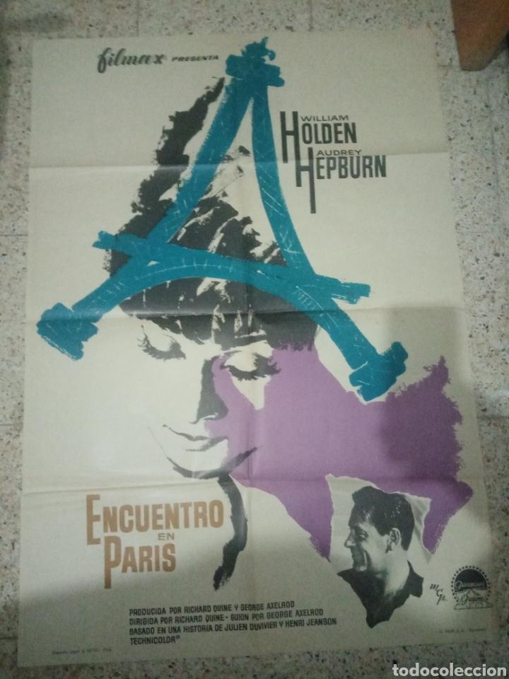 CARTEL CINE ORIGINAL ESPAÑOL ENCUENTRO EN PARIS, WILLIAM HOLDEN, AUDREY HEPBURN (Cine - Posters y Carteles - Comedia)