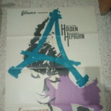 Cine: CARTEL CINE ORIGINAL ESPAÑOL ENCUENTRO EN PARIS, WILLIAM HOLDEN, AUDREY HEPBURN. Lote 243678660