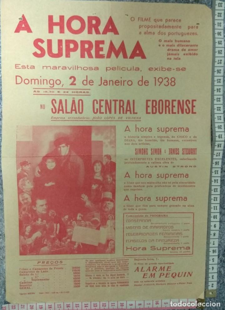 ST 110 CINEMA A HORA SUPREMA DRAMA AMOR SIMONE SIMON JAMES STEWART EVORA 1500 30/12/1937 PORTUGAL (Cine - Posters y Carteles - Comedia)