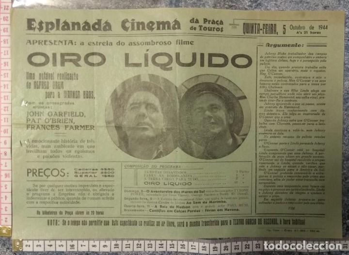 ST112 CINEMA OIRO LIQUIDO JOHN GARFIELD PAT O'BRIEN FRANCES FARMER EVORA 1500 4/10/1944 PORTUGAL (Cine - Posters y Carteles - Comedia)