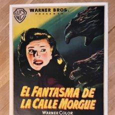 Cine: EL FANTASMA DE LA CALLE MORGUE. LITOGRAFÍA ENTELADA 70X100. MCP. 1954. Lote 243965645