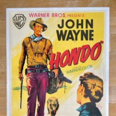 Cine: HONDO. LITOGRAFÍA ENTELADA 70X100. SOLIGÓ. JOHN WAYNE. 1953. Lote 244037565