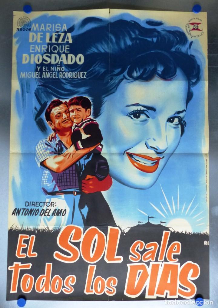CARTEL EL SOL SALE TODOS LOS DIAS, MARISA DE LEZA, ENRIQUE DIOSDADO - AÑO 1958 - LITOGRAFIA (Cine - Posters y Carteles - Clasico Español)