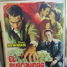 Cine: CARTEL ORIGINAL DE EPOCA - EL BUSCAVIDAS - PAUL NEWMAN - GLEASON - PEGADO Y BARNIZADO EN LA MADERA. Lote 244406125