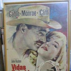 Cine: CARTEL ORIGINAL DE EPOCA - VIDAS REBELDES - MARILYN MONROE - CLARK GABLE. Lote 244409865