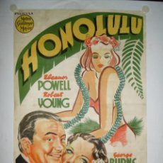 Cine: HONOLULU - 100 X 70 - 1939 - LITOGRAFICO. Lote 244476295