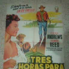 Cine: CARTEL CINE ORIGINAL ESPAÑOL TRES HORAS PARA VIVIR. Lote 244583940