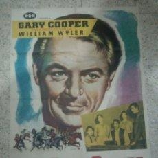 Cine: CARTEL CINE ORIGINAL ESPAÑOL LA GRAN PRUEBA, GARY COOPER. Lote 244589090