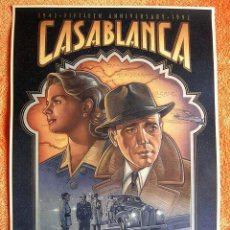 Cine: CARTEL POSTER RETRO PELICULA DE CINE - CASABLANCA - HUMPHREY BOGART INGRID BERGMAN.. Lote 244655955