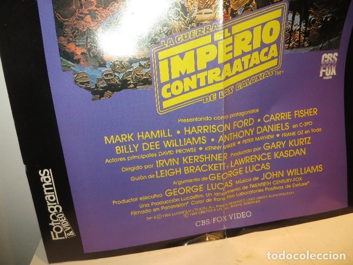 Cine: POSTER STAR WARS EL IMPERIO CONTRAATACA 1985 ESTRENO VIDEO CBS FOX,BUEN ESTADO,BARATO - Foto 2 - 244860175