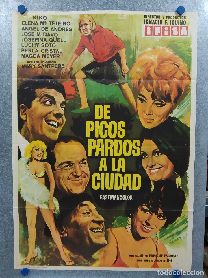"""DE PICOS PARDOS A LA CIUDAD. JOSÉ LUIS """"KIKO"""" CARBONELL, ELENA MARÍA TEJEIR AÑO 1971 POSTER ORIGINAL (Cine - Posters y Carteles - Clasico Español)"""