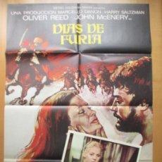 Cine: CARTEL CINE + 10 FOTOCROMOS DIAS DE FURIA OLIVER REED JOHN MC ENERY 1973 CCF221. Lote 245217225