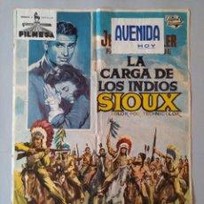 Cine: CARTEL CINE POSTER ORIGINAL - LA CARGA DE LOS INDIOS SIOUX - 1965 - DIB. ALVARO... L3426. Lote 245250155