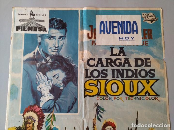 Cine: CARTEL CINE POSTER ORIGINAL - LA CARGA DE LOS INDIOS SIOUX - 1965 - DIB. ALVARO... L3426 - Foto 2 - 245250155
