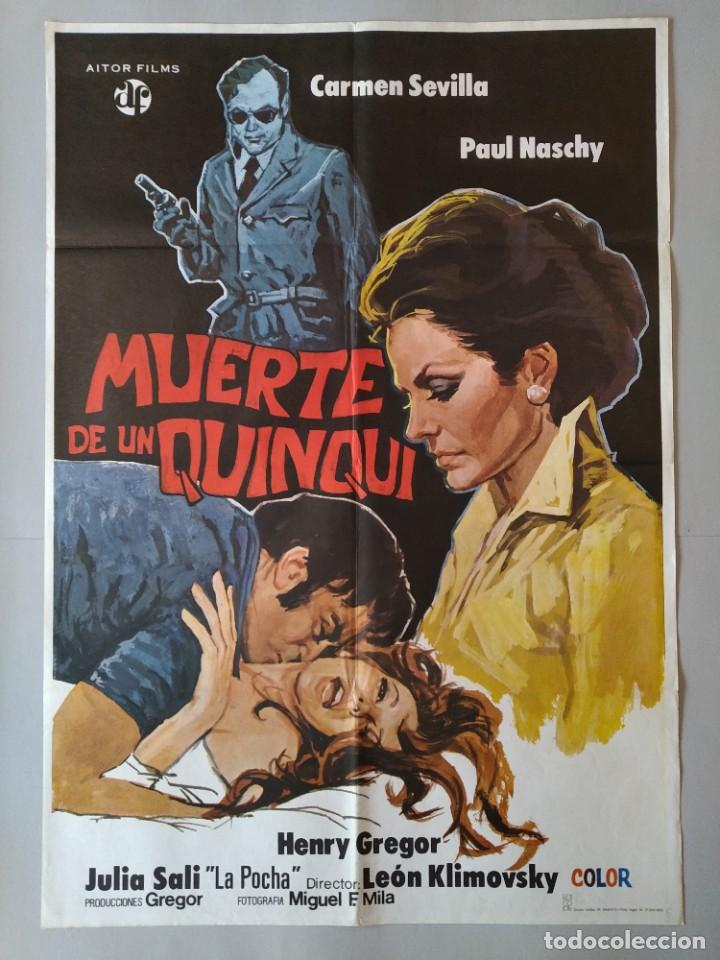 CARTEL CINE POSTER ORIGINAL - MUERTE DE UN QUNQUI - CARMEN SEVILLA - PAUL NASCHY 1975 .. L3428 (Cine - Posters y Carteles - Clasico Español)
