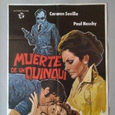 Cine: CARTEL CINE POSTER ORIGINAL - MUERTE DE UN QUNQUI - CARMEN SEVILLA - PAUL NASCHY 1975 .. L3428. Lote 245254130