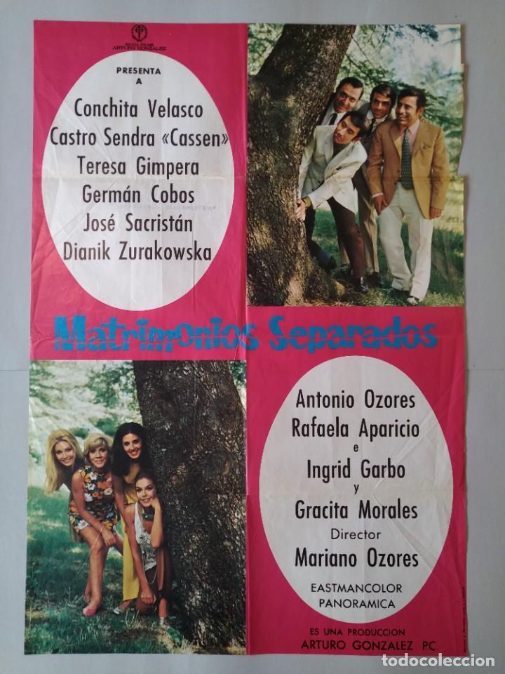 CARTEL CINE POSTER ORIGINAL - MATRIMONIOS SEPARADOS - CONCHA VELASCO - AÑO 1969 .. L3434 (Cine - Posters y Carteles - Clasico Español)