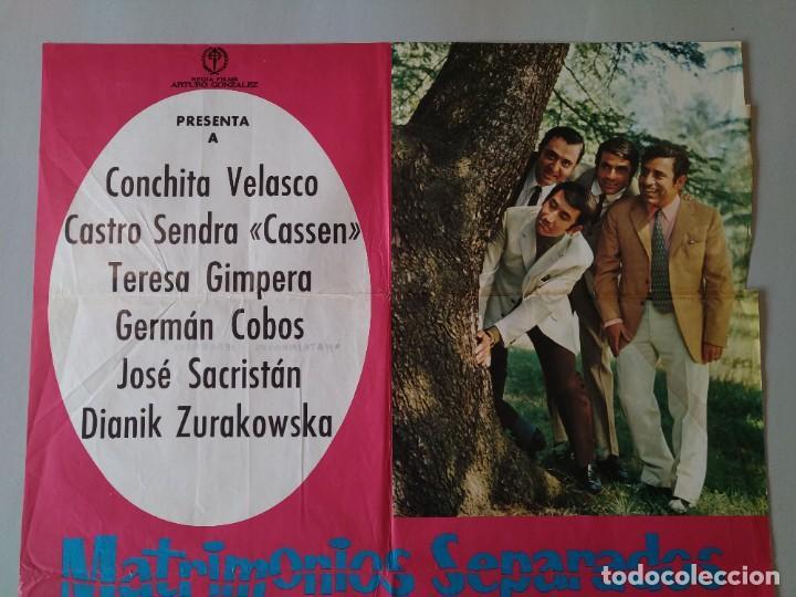 Cine: CARTEL CINE POSTER ORIGINAL - MATRIMONIOS SEPARADOS - CONCHA VELASCO - AÑO 1969 .. L3434 - Foto 2 - 245271345