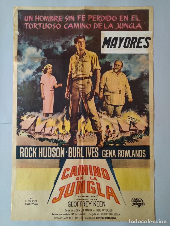CARTEL CINE POSTER ORIGINAL - EL CAMINO DE LA JUNGLA - ROCK HUDSON - BURL IVES - AÑO 1962 .. L3435 (Cine - Posters y Carteles - Clasico Español)