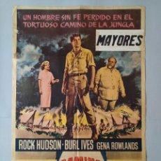 Cine: CARTEL CINE POSTER ORIGINAL - EL CAMINO DE LA JUNGLA - ROCK HUDSON - BURL IVES - AÑO 1962 .. L3435. Lote 245274315