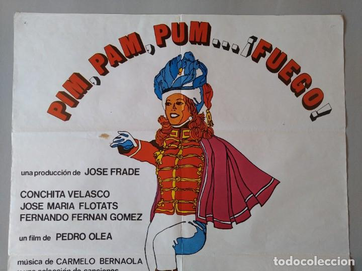 Cine: CARTEL CINE POSTER ORIGINAL - PIM PAM PUM ... FUEGO - CONCHITA VELASCO AÑO 1975 .. L3440 - Foto 2 - 245426580