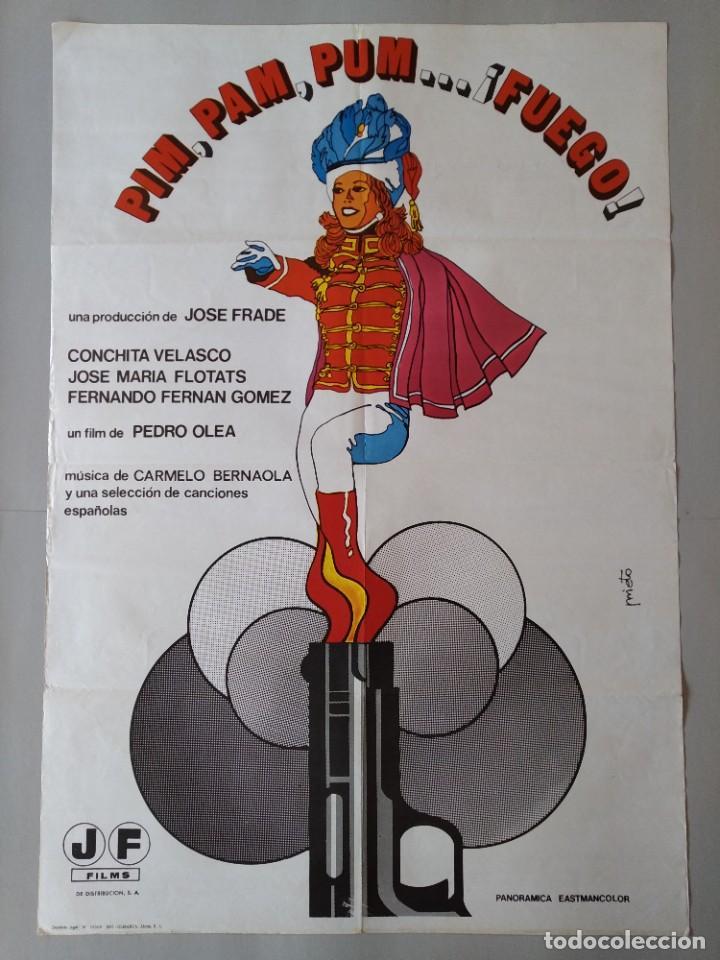 CARTEL CINE POSTER ORIGINAL - PIM PAM PUM ... FUEGO - CONCHITA VELASCO 1975 - JANO .. L3443 (Cine- Posters y Carteles - Drama)