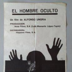Cine: CARTEL CINE POSTER ORIGINAL - EL HOMBRE OCULTO - ALFONSO UNGRIA AÑO 1971 - DIB. AUTE .. L3444. Lote 245431130