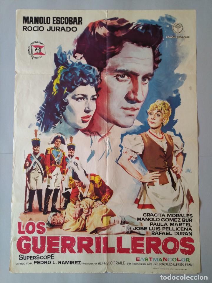 CARTEL CINE POSTER ORIGINAL - LOS GUERRILLEROS - MANOLO ESCOBAR - ROCIO JURADO AÑO 1962 JANO.. L3451 (Cine - Posters y Carteles - Clasico Español)