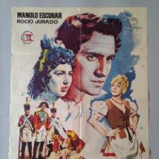 Cine: CARTEL CINE POSTER ORIGINAL - LOS GUERRILLEROS - MANOLO ESCOBAR - ROCIO JURADO AÑO 1962 JANO.. L3451. Lote 245444105