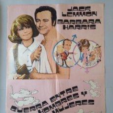 Cine: CARTEL CINE ORIGINAL - GUERRA ENTRE HOMBRES Y MUJERES - JACK LEMMON - BARBARA HARRIS - 1972 .. L3468. Lote 245910180