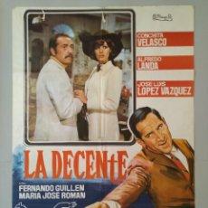 Cine: CARTEL CINE ORIGINAL - LA DECENTE - CONCHITA VELASCO - ALFREDO LANDA - AÑO 1970 ... L3471. Lote 245931675